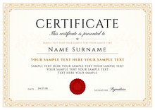 Certificate, Diploma Of Completion (design Template, White Background) With Frame, Border, Light Guilloche Pattern (watermark)
