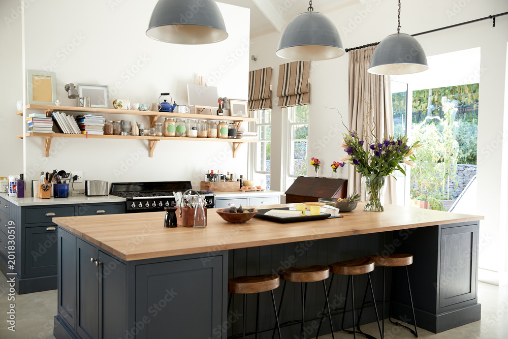 Fototapety, obrazy: Large family kitchen in period conversion house, angled view