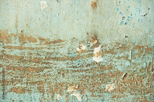 Keuken foto achterwand Retro Abstract blue, beige and turquoise background wallpaper texture. Old flaky paint peeling off grungy cracked wall. Cracks, scrapes, peeling old paint and plaster on background of old cement wall.