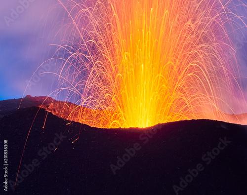 Carta da parati Lava Eruption of the Stromboli volcano, Aeolian islands, Sicily, Italy