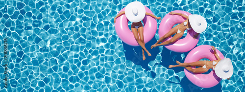 women swimming on float in a pool. 3d rendering Fototapeta