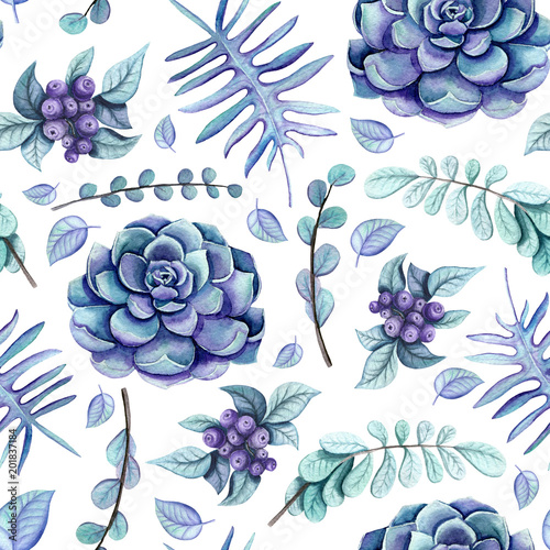 seamless-pattern-of-watercolor-succulent-and-herbs