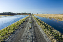Country Road And Flooded Fields