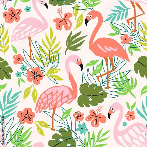 flamingo-ptak-i-tropikalne-kwiaty-tla-wektor-wzor