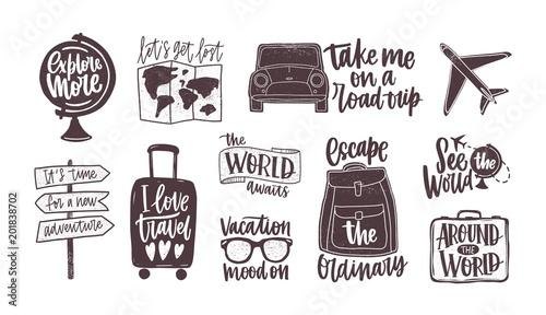 Fotografia, Obraz Bundle of handwritten motivational slogans decorated with tourism, travel and vacation elements - backpack, suitcase, world map, globe, airplane, sunglasses