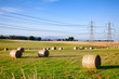 Summer rural landscape with silage bales on a field in Scotland UK