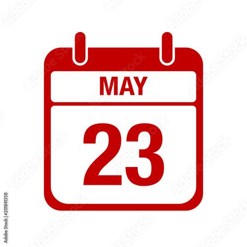 Fotografia  23 May calendar red icon. twenty three
