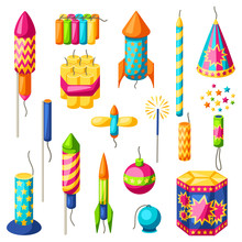 Set Of Colorful Fireworks. Dif...