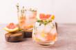 Gin bitter lemon with thyme and grapefruit. Fruit lemonade.