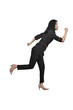Image of asian business woman in suit running