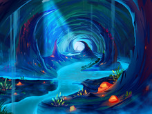 The Cavern With Fantastic, Realistic And Futuristic Style. Video Game's Digital CG Artwork, Concept Illustration, Realistic Cartoon Style Scene Design