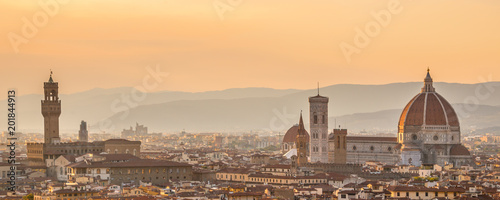 Aerial view of Florence with the Basilica Santa Maria del Fiore (Duomo), Tuscany, Italy