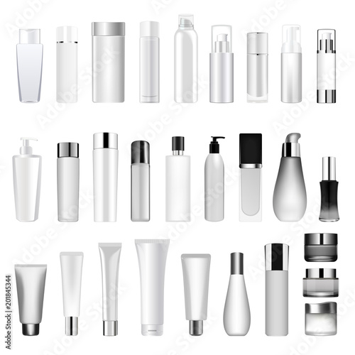Fotografie, Obraz  Set vector blank templates of empty and clean white plastic containers bottles with spray, dispenser and dropper, cream jar, tube