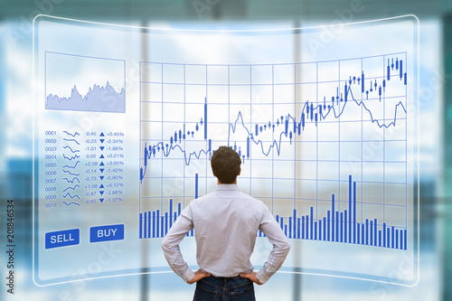 Fototapety, obrazy: Trader analyzing forex trading charts with sell buy buttons, investment