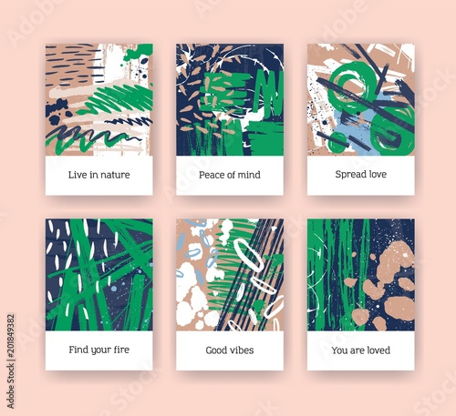 Bundle Of Poster Templates With Green And Brown Brush Strokes Paint