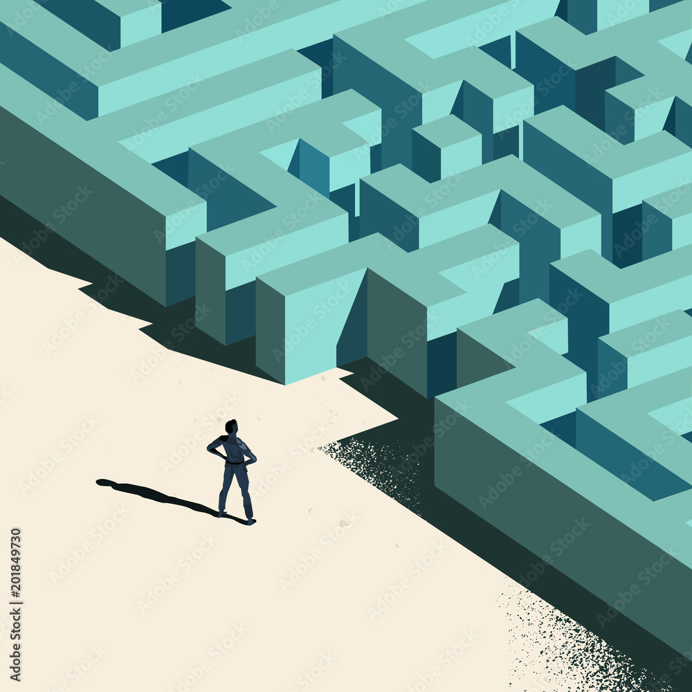 Fototapeta Business Challenge - Labyrinth Ahead. A person standing at the entrance to a maze. Conceptual vector illustration.