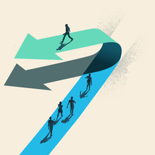 A Change Of Direction. A Businessman Choosing To Walk In The Opposite Direction To Other People On Top Of A Arrow. Business Conceptual Vector Illustration.