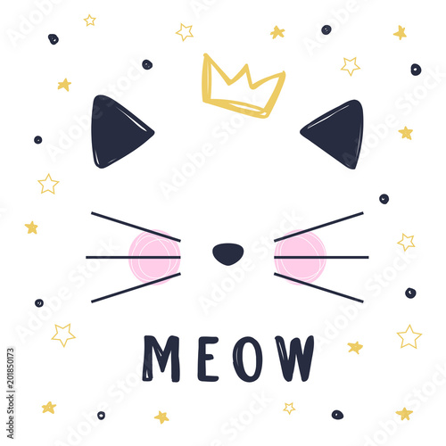 Photo Hand drawn vector illustration of a funny cat girl face with crown and text Meow