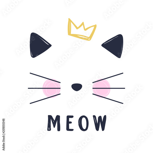 Fototapeta Hand drawn vector illustration of a funny cat girl face with crown and text Meow