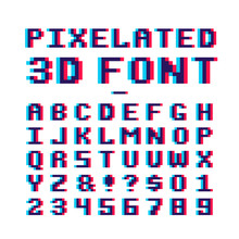 Video Game Pixelated 3d Font. ...