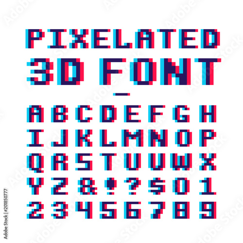 Video game pixelated 3d font Canvas Print