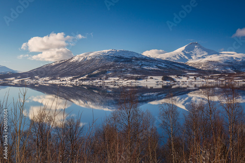 Plakat  Mountain's reflection, Balsfjord, Norway