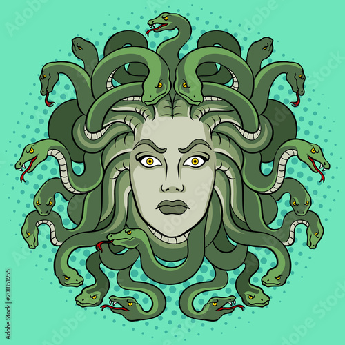 Medusa greek myth creature pop art vector Wallpaper Mural