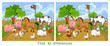 Find ten differences. Game for children with farm animals