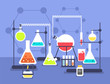 Chemistry laboratory experiment. Research lab science technology. Chemical laboratory vector flat concept