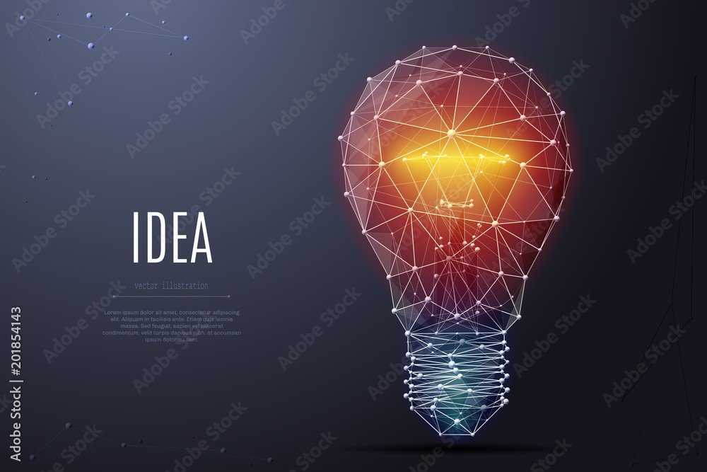 Fototapety, obrazy: Vector Incandescent lamp with bright light. Low poly wireframe and points. Polygonal 3D white bright warm light on dark background. Idea with geometry triangle. Abstract lamp bulb mash line origami