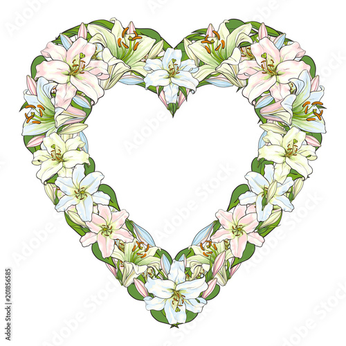 Vector Sketch Illustration Heart Shape Frame Template White Light