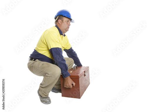 Fotografie, Obraz  A worker demonstrating a good lifting technique.