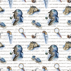 FototapetaSeamless vintage pattern with hat, smoking pipe, pistol, footprint and silhouette of Sherlock Holmes on white background with inscriptions. Watercolor hand drawn illustration