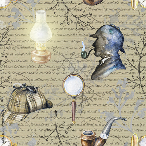 Seamless vintage pattern with hat, smoking pipe, lamp, magnifier, branches, pocket watch and silhouette of Sherlock Holmes on beige background with inscriptions Wallpaper Mural