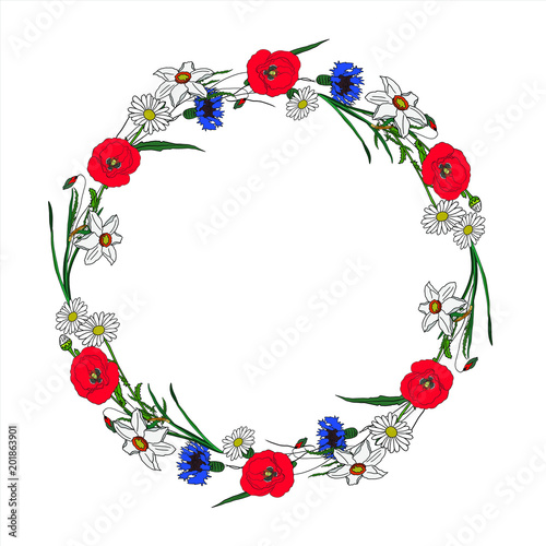 Hand drawn vector illustration wreath with chamomile, cornflower, narcissus for decoration