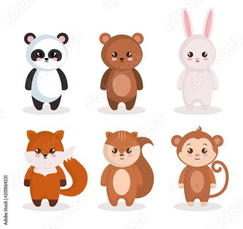 Canvas Prints Owls cartoon cute set animals characters vector illustration design