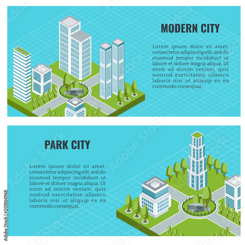 Photo Stands Turquoise The modern city quarter is isometric. Private and commercial apartments and offices in the skyscraper. Flat vector illustration. Objects isolated on blue background. Banner design.
