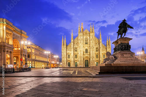 Garden Poster Milan Milan Cathedral and the Galleria on piazza Duomo, Italy