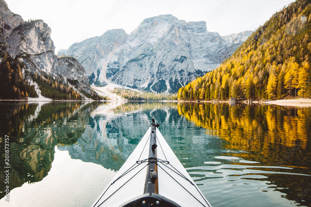 Fototapety, obrazy: Kayak on a lake with mountains in the Alps