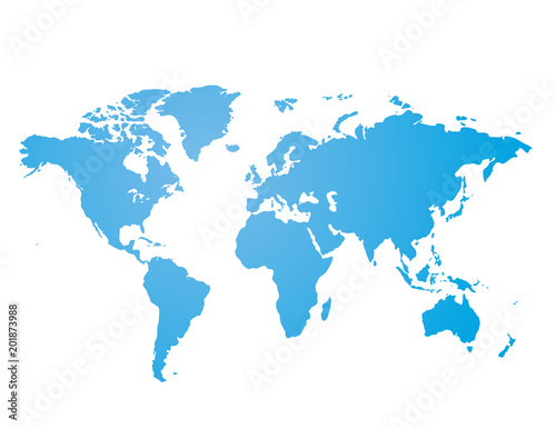 Foto op Aluminium Wereldkaart Blue similar world map blank for infographic isolated on white background. Vector illustration