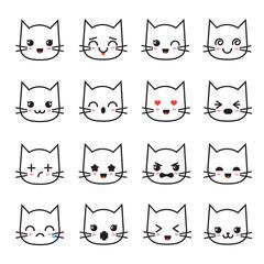 Cute kitten kawaii emoticon collection. Funny white cat emoji vector avatars