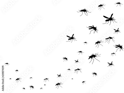Flying mosquitoes black silhouette isolated. Insect flock in air. Viruses and diseases spreading medical vector concept