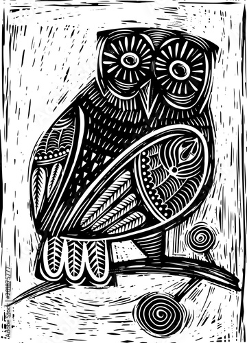 Hand Drawn Vector Illustration of  Owl woodcut  isolated vector illustration Fototapete