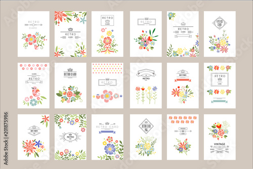 Fotografía  Flat vector set of retro card templates with different flowers