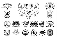 Vector Set Of Vintage Emblems For Hunting Club. Original Monochrome Labels With Silhouettes Of Dogs, Guns Rifles, Goose And Heads Of Deer