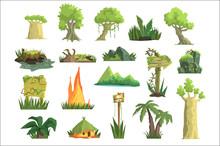 Tropical Jungle Landscape Set,...