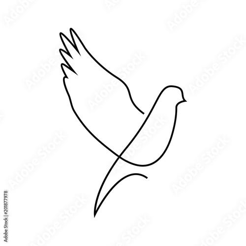One line dove flies design silhouette Fototapete