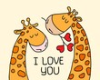 Two cute giraffes on yellow isolated background. Cartoon love card vector flat illustration of couple animals