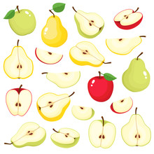Bright Vector Set Of Colorful Juicy Apple And Pear
