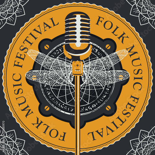Fototapety Muzyka vector-poster-or-banner-for-a-festival-of-folk-music-with-a-microphone-on-the-background-of-acoustic-speaker-with-abstract-round-pattern-with-a-dragonfly-in-retro-style